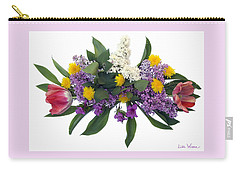Tulip Lilac And Dandelion Bouquet Carry-all Pouch by Lise Winne