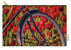 Carry-all Pouch featuring the photograph Tulips And Bicycle by Susan Candelario