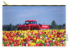 Tulips And Red Chevy Truck Carry-all Pouch