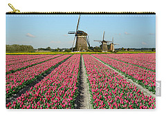 Tulips And Windmills In Holland Carry-all Pouch by IPics Photography