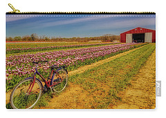 Carry-all Pouch featuring the photograph Tulips, Bicycle And Barn by Susan Candelario