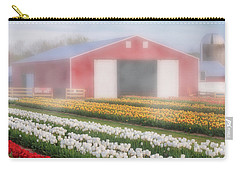 Carry-all Pouch featuring the photograph Tulips, Fog And Barn by Susan Candelario