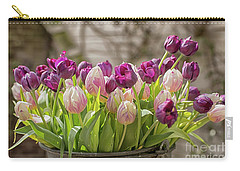 Carry-all Pouch featuring the photograph Tulips In A Bucket by Patricia Hofmeester