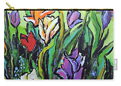 Carry-all Pouch featuring the painting Tulips by Jodie Marie Anne Richardson Traugott          aka jm-ART
