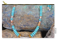 Turquoise #8 In Gourd Wood #r112 Carry-all Pouch by Barbara Prestridge