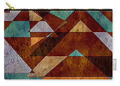Turquoise And Bronze Triangle Design With Copper Carry-all Pouch