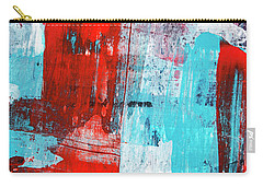 Carry-all Pouch featuring the painting Turquoise And Red Abstract Painting by Christina Rollo