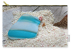 Turquoise And White Sea Glass Carry-all Pouch