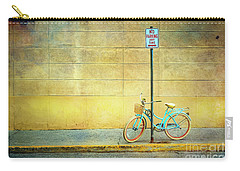 Carry-all Pouch featuring the photograph Turquoise Bicycle by Craig J Satterlee