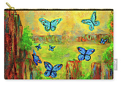 Turquoise Butterflies Carry-all Pouch