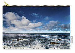Carry-all Pouch featuring the photograph Turquoise Pacific Ocean Sea Water Rolling Waves And Rock With Bl by Jingjits Photography