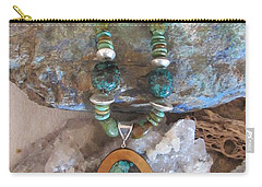 Turquoise Set In Gourd Wood #d142 Carry-all Pouch