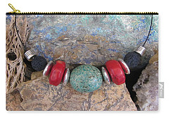 Turquoise,coral And Lava #s53 Carry-all Pouch by Barbara Prestridge