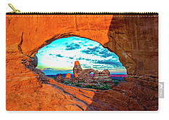 Carry-all Pouch featuring the photograph Turret Arch Through Window by Norman Hall