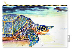Carry-all Pouch featuring the painting Turtle At Poipu Beach 2 by Marionette Taboniar