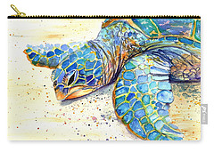 Carry-all Pouch featuring the painting Turtle At Poipu Beach 4 by Marionette Taboniar