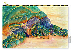 Carry-all Pouch featuring the painting Turtle At Poipu Beach 7 by Marionette Taboniar