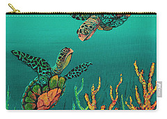Carry-all Pouch featuring the painting Turtle Love by Darice Machel McGuire