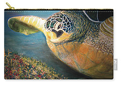 Carry-all Pouch featuring the painting Turtle Run by Karen Zuk Rosenblatt