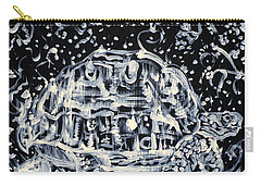 Carry-all Pouch featuring the painting Turtle Walking Under A Starry Sky by Fabrizio Cassetta