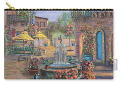 Beautiful Tuscan Villa Flower Garden Fountain Painting Carry-all Pouch