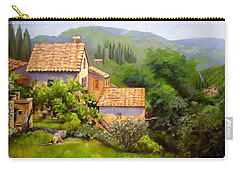 Carry-all Pouch featuring the painting Tuscan Village Memories by Chris Hobel