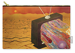 Carry-all Pouch featuring the painting Tv Wasteland by Thomas Blood