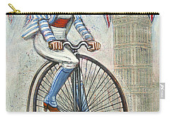 Tweed Run Lady In Blue On Penny Farthing  Carry-all Pouch by Mark Jones