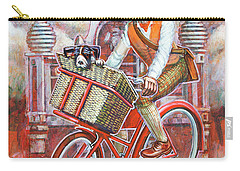 Carry-all Pouch featuring the painting Tweed Runner On Red Pashley by Mark Howard Jones