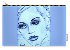Twiggy In Blue Carry-all Pouch by P J Lewis