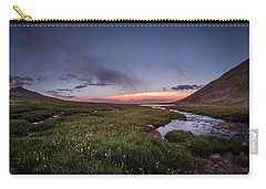 Carry-all Pouch featuring the photograph Twilight Alpine Stream by Chris Bordeleau