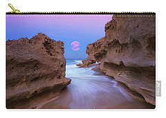Twilight Moon Rising Over Hutchinson Island Beach Rocks Carry-all Pouch by Justin Kelefas