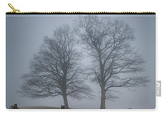 Twin Trees Late Fall Foggy Morning Carry-all Pouch