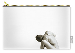 Carry-all Pouch featuring the photograph Twisted Figure On White by Rikk Flohr
