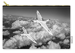 Carry-all Pouch featuring the photograph Two Avro Vulcan B1 Nuclear Bombers Bw Version by Gary Eason