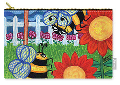 Two Bees With Red Flowers Carry-all Pouch by Genevieve Esson