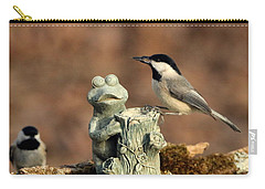 Two Black-capped Chickadees And Frog Carry-all Pouch by Sheila Brown