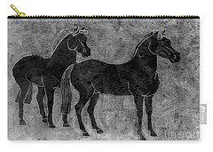 Carry-all Pouch featuring the drawing Two Black Chinese Horses by Nareeta Martin