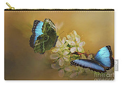 Two Blue Morpho Butterflies On White Spring Flowers Carry-all Pouch