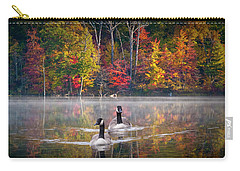 Two Canadian Geese Swimming In Autumn Carry-all Pouch