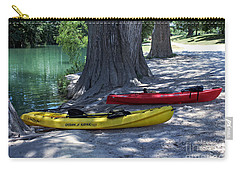 Carry-all Pouch featuring the photograph Two Canoes At Medina River by Ella Kaye Dickey