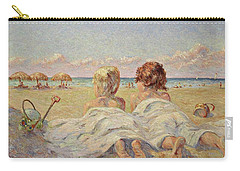 Two Children On The Beach Carry-all Pouch
