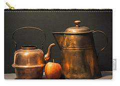 Carry-all Pouch featuring the photograph Two Copper Pots And An Apple by Frank Wilson