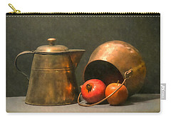 Carry-all Pouch featuring the photograph Two Copper Pots Pomegranate And An Apple by Frank Wilson