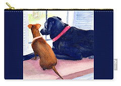 Two Dogs Looking Out A Window Carry-all Pouch