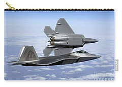 Two F-22a Raptors In Flight Carry-all Pouch