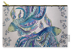 Carry-all Pouch featuring the drawing Two Fish Tangled 2 by Megan Walsh