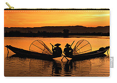 Two Fisherman At Sunset Carry-all Pouch