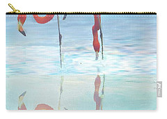 Two Flamingos Searching For Food Carry-all Pouch by Janette Boyd