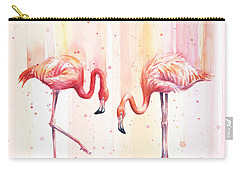 Two Flamingos Watercolor Carry-all Pouch